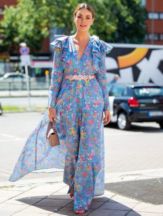 BERLIN, GERMANY - JULY 04: Janina Uhse is seen wearing dress with floral print outside Marina Hoermanseder during Berlin Fashion Week on July 04, 2019 in Berlin, Germany. (Photo by Christian Vierig/Getty Images)