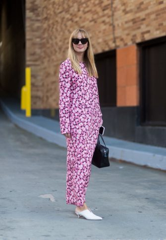 NEW YORK, NY - SEPTEMBER 07: Lisa Aiken seen wearing a pink dress in the streets of Manhattan outside Adam Selman during New York Fashion Week on September 7, 2017 in New York City (Photo by Christian Vierig/Getty Images)
