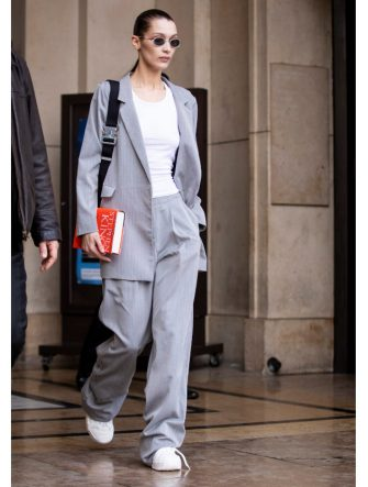 PARIS, FRANCE - MARCH 02: Bella Hadid is seen outside Haider Ackermann on Day 6 Paris Fashion Week Autumn/Winter 2019/20 on March 2, 2019 in Paris, France. (Photo by Claudio Lavenia/Getty Images)
