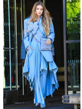 NEW YORK, NEW YORK - JUNE 03: Gigi Hadid is seen leaving her hotel on June 03, 2019 in New York City. (Photo by Say Cheese!/GC Images)