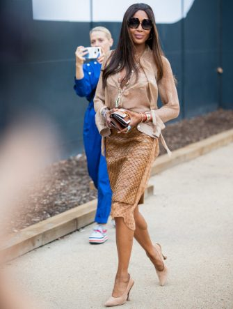 LONDON, ENGLAND - SEPTEMBER 16: Naomi Campbell is seen outside Burberry during London Fashion Week September 2019 on September 16, 2019 in London, England. (Photo by Christian Vierig/Getty Images)