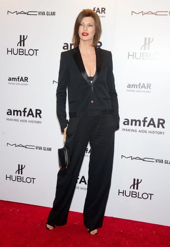 NEW YORK, NY - FEBRUARY 08:  Linda Evangelista attends the amfAR New York Gala To Kick Off Fall 2012 Fashion Week at Cipriani Wall Street on February 8, 2012 in New York City.  (Photo by Gilbert Carrasquillo/FilmMagic)