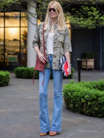 LONDON, ENGLAND - APRIL 25:  Claudia Schiffer wears Fay on April 25, 2017 in London, England.  (Photo by David M Benett/Dave Benett/Getty Images for Fay)