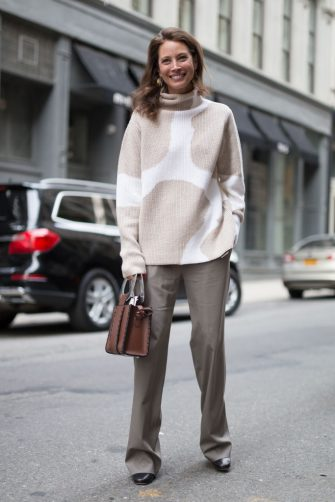 NEW YORK, NY - FEBRUARY 14:  Christy Turlington is seen on the street attending EDUN during New York Fashion Week wearing a beige/white sweater with grey slacks and brown bag on February 14, 2018 in New York City.  (Photo by Matthew Sperzel/Getty Images)