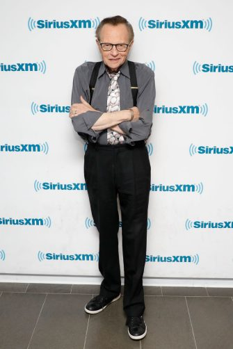 """NEW YORK, NY - MARCH 31:  Legendary broadcaster Larry King visits the SiriusXM Studios for """"A Conversation with Larry King, hosted by John Fugelsang"""" at SiriusXM Studios on March 31, 2017 in New York City.  (Photo by Taylor Hill/Getty Images for SiriusXM)"""