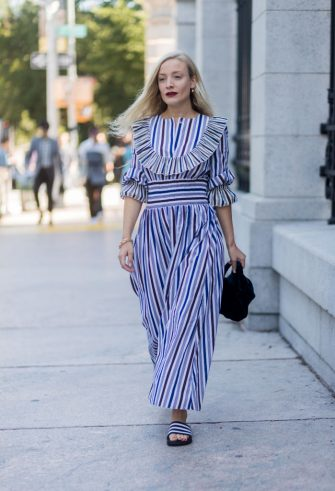NEW YORK, NY - SEPTEMBER 08: A guest wearing striped dress seen in the streets of Manhattan outside Tory Burch during New York Fashion Week on September 8, 2017 in New York City. (Photo by Christian Vierig/Getty Images)