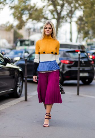 PARIS, FRANCE - SEPTEMBER 28: Lala Rudge wearing a Ferragamo dress and Fendi bags outside Lanvin on September 28, 2016 in Paris, France. (Photo by Christian Vierig/Getty Images)
