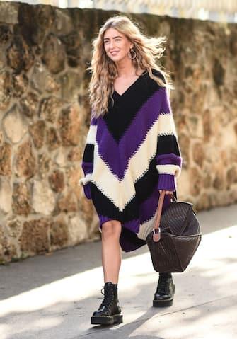 PARIS, FRANCE - SEPTEMBER 27: Emili Sindlev is seen wearing Loewe sweater outside the Loewe show during Paris Fashion Week SS20 on September 27, 2019 in Paris, France. (Photo by Daniel Zuchnik/Getty Images)