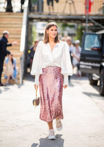 BERLIN, GERMANY - JULY 05: Nina Schwichtenberg wearing high waist pink glitter, white button shirt, Chloe bag is seen outside Lana Mueller during the Berlin Fashion Week July 2018 on July 5, 2018 in Berlin, Germany. (Photo by Christian Vierig/Getty Images)