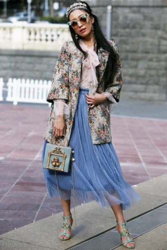 AUCKLAND, NEW ZEALAND - AUGUST 27: Heidi Ting  wears vintage dress and bag during New Zealand Fashion Week 2019 on August 27, 2019 in Auckland, New Zealand. (Photo by Lisa Maree Williams/Getty Images)