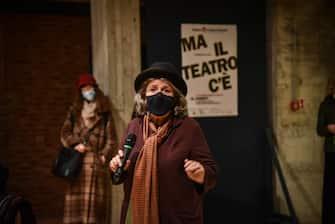 La direttrice Andrè Ruth Shammah - Evento teatri aperti UNITA al Teatro Franco Parenti - Milano 22 Febbraio 2021  Ansa/Matteo Corner