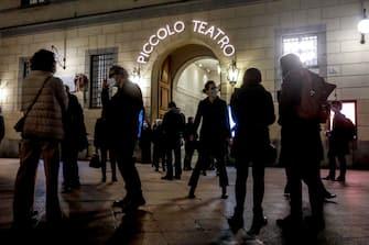 Illuminato il Piccolo Teatro di via Rovello come iniziativa per chiedere la riapertura dei teatri a Milano, 22 febbraio 2021. ANSA/Mourad Balti Touati