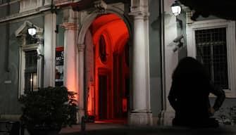 MO.CA, centro culturale attivo di Brescia, durante l iniziativa  luci accese , Brescia 22 febbraio 2021.ANSA/SIMONE VENEZIA