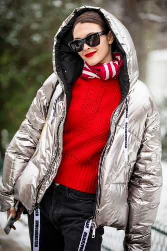 PARIS, FRANCE - JANUARY 22: Model Vittoria Ceretti, wearing a silver bomber jacket and black jeans, is seen outside Chanel show during Paris Fashion Week - Haute Couture Spring Summer 2019 on January 22, 2019 in Paris, France. (Photo by Claudio Lavenia/Getty Images)