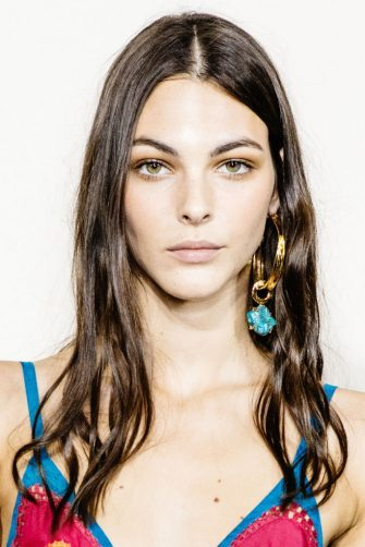 MILAN, ITALY - SEPTEMBER 18: Vittoria Ceretti poses during backstage for Alberta Ferretti fashion show during the Milan Fashion Week Spring/Summer 2020 on September 18, 2019 in Milan, Italy. (Photo by Rosdiana Ciaravolo/Getty Images)