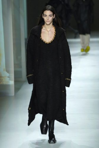 MILAN, ITALY - FEBRUARY 22: Vittoria Ceretti walks the runway during the Bottega Veneta fashion show as part of Milan Fashion Week Fall/Winter 2020-2021 on February 22, 2020 in Milan, Italy. (Photo by Pietro S. D'Aprano/Getty Images)