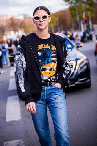 PARIS, FRANCE - OCTOBER 03:  Model Vittoria Ceretti is seen on the streets of Paris, after the Chanel show during Paris Fashion Week Womenswear SS18 on October 3, 2017 in Paris, France.  (Photo by Claudio Lavenia/Getty Images)