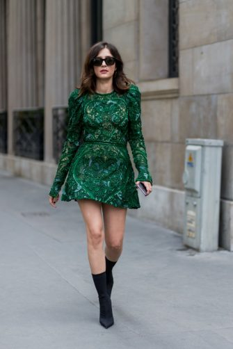 PARIS, FRANCE - JULY 05: A guest Eleonora Carisi wearing a green dress, ankle boots outside Elie Saab during Paris Fashion Week - Haute Couture Fall/Winter 2017-2018 : Day Four on July 5, 2017 in Paris, France. (Photo by Christian Vierig/Getty Images)