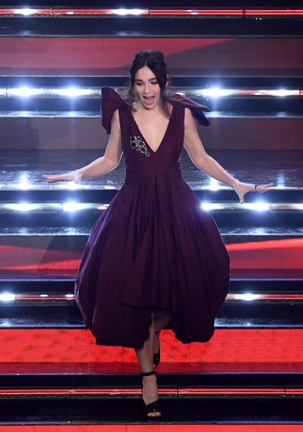Italian actress Matilda De Angelis  on stage at the Ariston theatre during the 71st Sanremo Italian Song Festival, Sanremo, Italy, 02 March 2021. The festival runs from 02 to 06 March.    ANSA/ETTORE FERRARI