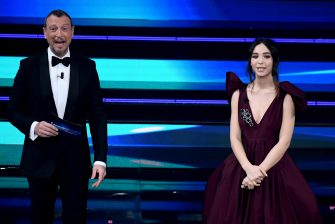 Sanremo Festival host and artistic director, Amadeus (L) and italian actress Matilda De Angelis on stage at the Ariston theatre during the 71st Sanremo Italian Song Festival, Sanremo, Italy, 02 March 2021. The festival runs from 02 to 06 March.    ANSA/ETTORE FERRARI