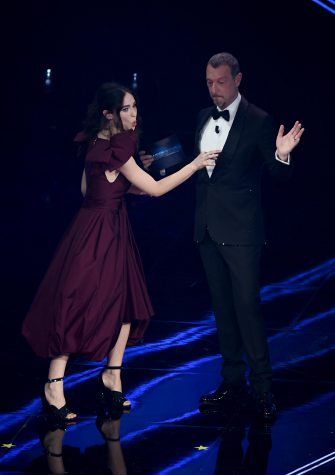 Sanremo Festival host and artistic director, Amadeus (R) and italian actress Matilda De Angelis on stage at the Ariston theatre during the 71st Sanremo Italian Song Festival, Sanremo, Italy, 02 March 2021. The festival runs from 02 to 06 March.    ANSA/ETTORE FERRARI