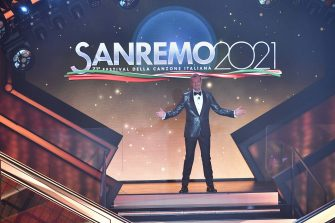 SANREMO, ITALY - MARCH 03:  Amadeus presents the 71th Sanremo Music Festival 2021 at Teatro Ariston on March 03, 2021 in Sanremo, Italy. (Photo by Jacopo Raule / Daniele Venturelli/Getty Images)