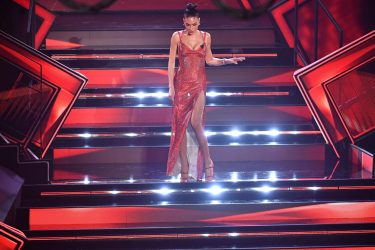 SANREMO, ITALY - MARCH 03:  Elodie is seen on stage at the 71th Sanremo Music Festival 2021 at Teatro Ariston on March 03, 2021 in Sanremo, Italy. (Photo by Jacopo Raule / Daniele Venturelli/Getty Images)