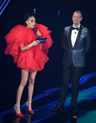 Italian singers Elodie with Sanremo Festival host and artistic director, Amadeus on stage at the Ariston theatre during the 71st Sanremo Italian Song Festival, Sanremo, Italy, 03 March 2021. The festival runs from 02 to 06 March.    ANSA/ETTORE FERRARI