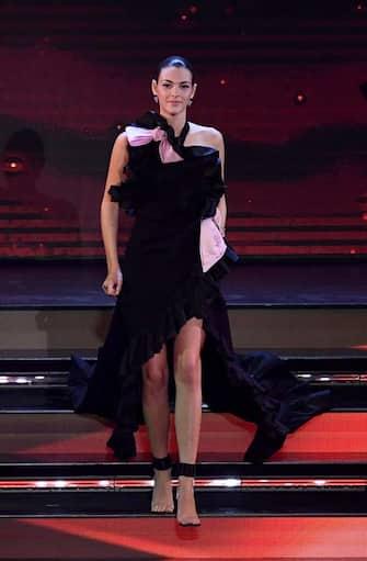Italian model Vittoria Ceretti on stage at the Ariston theatre during the 71st Sanremo Italian Song Festival, Sanremo, Italy, 04 March 2021. The festival runs from 02 to 06 March.    ANSA/ETTORE FERRARI