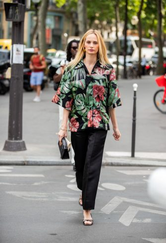 PARIS, FRANCE - JULY 01: Lauren Santo Domingo is seen wearing button shirt with floral print outside Schiaparelli during Paris Fashion Week - Haute Couture Fall/Winter 2019/2020 on July 01, 2019 in Paris, France. (Photo by Christian Vierig/Getty Images)