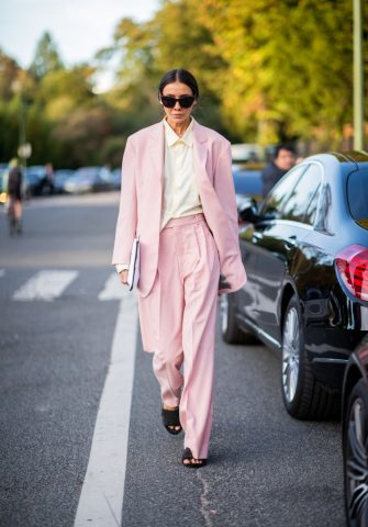 PARIS, FRANCE - SEPTEMBER 29: Julie Pelipas wearing pink suit is seen outside Hermes during Paris Fashion Week Womenswear Spring/Summer 2019 on September 29, 2018 in Paris, France. (Photo by Christian Vierig/Getty Images)