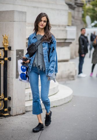 PARIS, FRANCE - SEPTEMBER 28: Model Blanca Padilla wearing denim jacket, cropped denim jeans seen outside Balmain during Paris Fashion Week Spring/Summer 2018 on September 28, 2017 in Paris, France. (Photo by Christian Vierig/Getty Images)