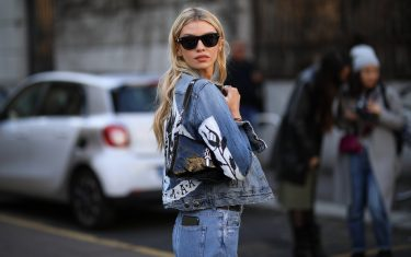 MILAN, ITALY - FEBRUARY 21: Stella Maxwell is seen wearing a jeansjacket before Etro during Milan Fashion Week Fall/Winter 2020-2021 on February 21, 2020 in Milan, Italy. (Photo by Jeremy Moeller/Getty Images)