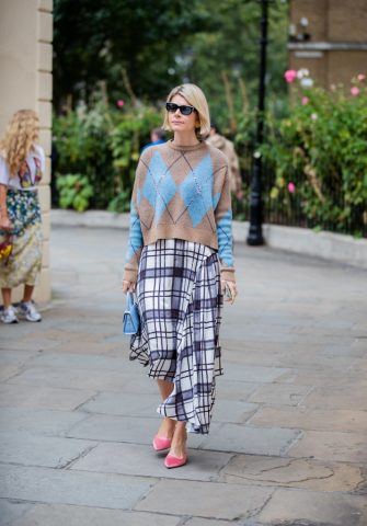 LONDON, ENGLAND - SEPTEMBER 16: A guest is seen wearing checkered skirt, knit outside Erdem during London Fashion Week September 2019 on September 16, 2019 in London, England. (Photo by Christian Vierig/Getty Images)