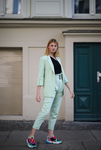 BERLIN, GERMANY - JUNE 29: Trixi Giese wearing Adidas sneaker and Bershka suit on June 29, 2019 in Berlin, Germany. (Photo by Jeremy Moeller/Getty Images)
