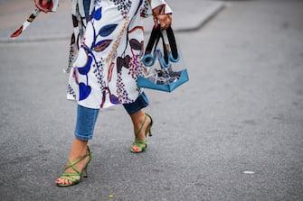 COPENHAGEN, DENMARK - AUGUST 08: Darja Barannik wearing see trough bag is seen outside Stine Goya during the Copenhagen Fashion Week Spring/Summer 2019 on August 8, 2018 in Copenhagen, Denmark. (Photo by Christian Vierig/Getty Images)