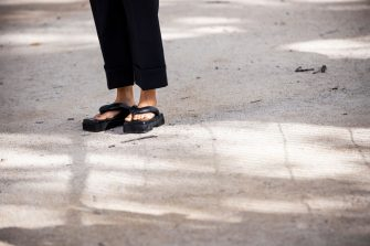 PARIS, FRANCE - SEPTEMBER 30: Xenia Adonts, shoes details, is seen outside the Sacai show during Paris Fashion Week - Womenswear Spring Summer 2020 on September 30, 2019 in Paris, France. (Photo by Claudio Lavenia/Getty Images)