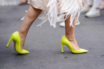 PARIS, FRANCE - JULY 04: Yellow heels shoes , outside Fendi, during Paris Fashion Week Haute Couture Fall Winter 2018/2019, on July 4, 2018 in Paris, France.  (Photo by Edward Berthelot/Getty Images)