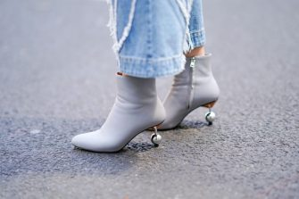LONDON, ENGLAND - JUNE 10:  A guest wears gray shoes with heels made of metallic balls, during London Fashion Week Men's June 2018  on June 10, 2018 in London, England.  (Photo by Edward Berthelot/Getty Images)