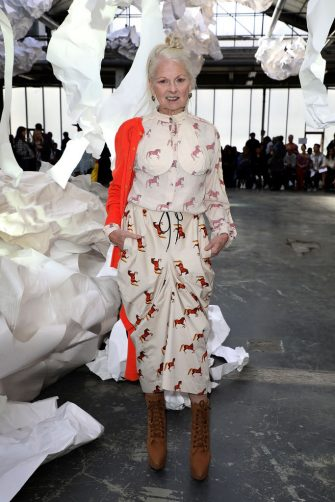 PARIS, FRANCE - SEPTEMBER 29:  Vivienne Westwood attends the Vivienne Westwood show as part of the Paris Fashion Week Womenswear Spring/Summer 2019 on September 29, 2018 in Paris, France.  (Photo by Pierre Suu/Getty Images)
