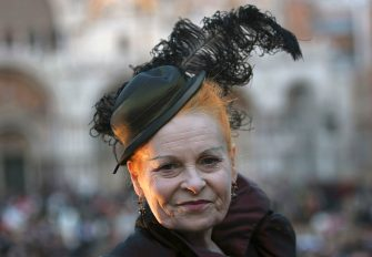 VENICE, ITALY - FEBRUARY 5:  English designer Vivienne Westwood attends the 2005 Venice Carnival on February 5, 2005 in Venice, Italy. The famous Venice carnival features parades, concerts and street theatre. It is the last time for indulgence by Catholics before lent. The carnival became popular when grand celebrations were held in 1162 after the important victory over Ulrico, Patriarch of Aquileia. (Photo by Giuseppe Cacace/Getty Images)