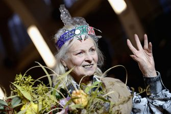LONDON, ENGLAND - JANUARY 09:  Vivienne Westwood is seen on the runway for the finale of the Vivienne Westwood show during London Fashion Week Men's January 2017 collections at Seymour Leisure Centre on January 9, 2017 in London, England.  (Photo by Jeff Spicer/Getty Images)