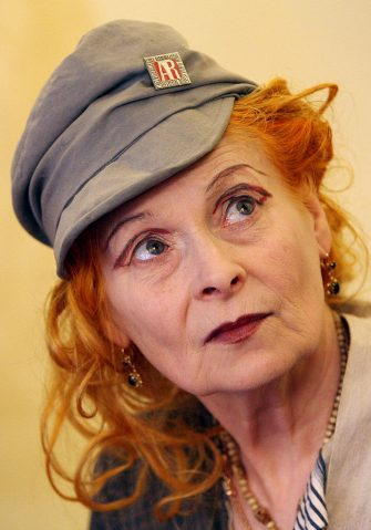 British fashion designer Vivienne Westwood answers journalists questions during a press preview of the exhibition ?Vivienne Westwood? at Palazzo Reale in Milan, 24 September 2007. The exhibition (from 26 September 2007 to 20 January 2008) is a tribute to Vivienne Westwood?s 35 years of career and explores how the designer has incorporated historical and cultural references into fashion in a unique and inspiring way.  AFP PHOTO / CHRISTOPHE SIMON (Photo credit should read CHRISTOPHE SIMON/AFP via Getty Images)