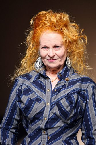 British designer Vivienne Westwood acknowledges the public at the end of her Spring/Summer 2008 ready-to-wear collection show in Paris, 01 October 2007. AFP PHOTO PIERRE VERDY (Photo credit should read PIERRE VERDY/AFP via Getty Images)