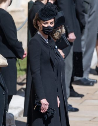 WINDSOR, ENGLAND - APRIL 17: Catherine, Duchess of Cambridge during the funeral of Prince Philip, Duke of Edinburgh on April 17, 2021 in Windsor, England. Prince Philip of Greece and Denmark was born 10 June 1921, in Greece. He served in the British Royal Navy and fought in WWII. He married the then Princess Elizabeth on 20 November 1947 and was created Duke of Edinburgh, Earl of Merioneth, and Baron Greenwich by King VI. He served as Prince Consort to Queen Elizabeth II until his death on April 9 2021, months short of his 100th birthday. His funeral takes place today at Windsor Castle with only 30 guests invited due to Coronavirus pandemic restrictions. (Photo by Pool/Samir Hussein/WireImage)