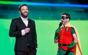 INGLEWOOD, CALIFORNIA: In this image released on May 2, (L-R) Ben Affleck and Jimmy Kimmel (in costume as Robin) speak onstage during Global Citizen VAX LIVE: The Concert To Reunite The World at SoFi Stadium in Inglewood, California. Global Citizen VAX LIVE: The Concert To Reunite The World will be broadcast on May 8, 2021. (Photo by Emma McIntyre/Getty Images for Global Citizen VAX LIVE)