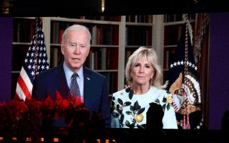 INGLEWOOD, CALIFORNIA: In this image released on May 2, (L-R) United States President Joe Biden and First Lady Dr. Jill Biden speak via a video project onstage during Global Citizen VAX LIVE: The Concert To Reunite The World at SoFi Stadium in Inglewood, California. Global Citizen VAX LIVE: The Concert To Reunite The World will be broadcast on May 8, 2021. (Photo by Kevin Winter/Getty Images for Global Citizen VAX LIVE)