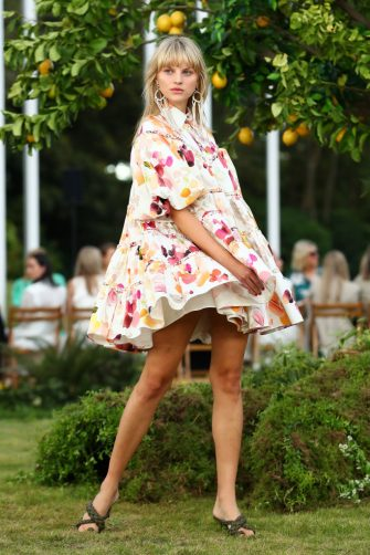 SYDNEY, AUSTRALIA - MAY 11: A model walks the runway at the Aje Resort 22 Runway show at The Calyx, Royal Botanic Garden on May 11, 2021 in Sydney, Australia. (Photo by Mark Metcalfe/Getty Images)
