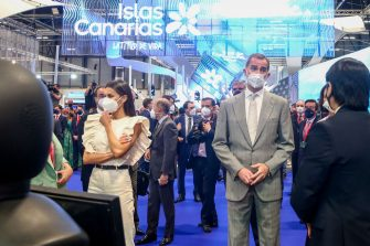 MADRID, SPAIN - MAY 19: King Felipe VI and Queen Letizia Ortiz participate in the inauguration of Fitur 2021, on May 19, 2021, at IFEMA, Madrid,, Spain. The International Tourism Fair, Fitur 2021 'Special Tourism Recovery', is the first fair in hybrid format of the international circuit of major events and is the great strategic commitment of the Spanish Government for the recovery of tourism, a key sector for the economy. Organised by Ifema Madrid, from 19 to 23 May, the fair will bring together more than 5,000 participants from the five continents, with the presence of all the autonomous communities, companies and destinations from 55 countries. (Photo By Ricardo Rubio/Europa Press via Getty Images)