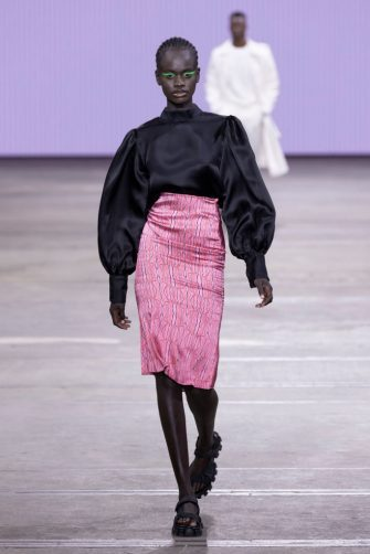 SYDNEY, AUSTRALIA - JUNE 02: A model walks the runway during the Daniel Avakian show during Afterpay Australian Fashion Week 2021 Resort '22 Collections at Carriageworks on June 2, 2021 in Sydney, Australia. (Photo by Matt Jelonek/WireImage)